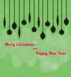 Feliz Navidad y Feliz Año Nuevo con los ornamentos Foto de archivo libre de regalías