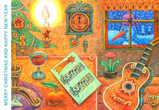 Feliz Navidad y Feliz Año Nuevo 2 - ejemplo de la historieta imágenes de archivo libres de regalías