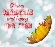 Feliz Navidad y Feliz Año Nuevo en fondo azul del bokeh con las hojas Fotografía de archivo
