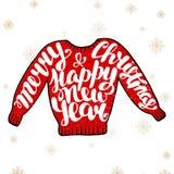 Feliz Navidad y Feliz Año Nuevo en suéter rojo Fotografía de archivo