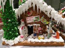 Feliz Navidad y Feliz Año Nuevo, galletas hechas en casa de la casa de la formación de hielo con Papá Noel, muñeco de nieve y cas Foto de archivo libre de regalías