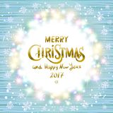 Feliz Navidad y Feliz Año Nuevo 2017 Guirnalda de la Navidad que brilla intensamente stock de ilustración