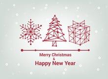 Feliz Navidad y Feliz Año Nuevo, línea tarjeta de felicitación minimalista del estilo, diseño elegante hermoso, ejemplo del vecto Fotografía de archivo libre de regalías