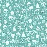 Feliz Navidad y Feliz Año Nuevo 2017 Modelo inconsútil dibujado mano de la estación de la Navidad Ilustración del vector Doodle e Imágenes de archivo libres de regalías