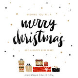 Feliz Navidad y Feliz Año Nuevo Papá Noel en un trineo Imagen de archivo libre de regalías