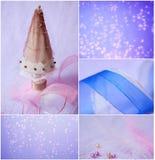 Feliz Navidad y Feliz Año Nuevo, tarjeta de felicitación del collage Imagenes de archivo