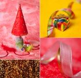 Feliz Navidad y Feliz Año Nuevo, tarjeta de felicitación del collage Fotografía de archivo