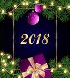 Feliz Navidad y fondo feliz del Año Nuevo 2018 con el marco, Fotografía de archivo