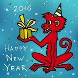 Feliz Navidad y nueva postal feliz del vector de la historieta de 2016 años con el macaque rojo del mono con el presente Imagen de archivo libre de regalías