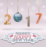 Feliz Navidad y nuevo fondo feliz 2017 Foto de archivo libre de regalías