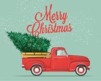 Feliz Navidad y plantilla de la postal o del cartel o del aviador de la Feliz Año Nuevo El vintage diseñó el ejemplo del vector fotos de archivo libres de regalías