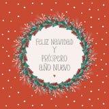 Feliz-navidad y Prospero-ano nuevo - frohe Weihnachten und guten Rutsch ins Neue Jahr Spanische Weihnachtsvektor-Karte stock abbildung