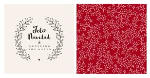 Free Feliz Navidad Y Prospero Ano Nuevo - Merry Christmas And Happy New Year. Spanish Christmas Vector Card And Pattern. Royalty Free Stock Image - 130788936