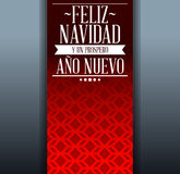 Feliz navidad y prospero ano nuevo - merry christmas and happy new year spanish text. Holiday vector template card Royalty Free Stock Photos