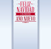 Feliz navidad y prospero ano nuevo - merry christmas and happy new year. Spanish text - holiday vector template card Stock Image