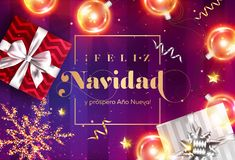 Feliz Navidad y prospero Ano Nuevo. Merry Christmas and Happy New Year in Spanish. Vector Greeting Card Template. Holiday Composition with Gift Boxes royalty free illustration