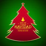 Feliz Navidad y prospero ano nuevo, Spanish translation: Merry Christmas and Happy new Year, Simple glossy Christmas tree Stock Image