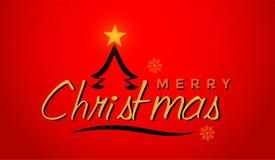 Feliz Navidad y saludo de diseño del texto en icono coloreado oro en fondo rojo abstracto foto de archivo