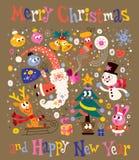 Feliz Navidad y tarjeta de felicitación de la Feliz Año Nuevo stock de ilustración