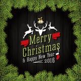 Feliz Navidad y tarjeta 2016 de felicitación de la Feliz Año Nuevo Imagenes de archivo