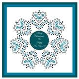 Feliz Navidad y tarjeta de felicitación de la Feliz Año Nuevo enmarcada Concepto del invierno Tema de la celebración de Navidad stock de ilustración