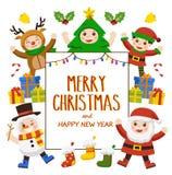 Feliz Navidad y tarjeta de felicitación del Año Nuevo ilustración del vector