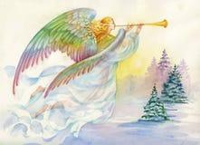 Feliz Navidad y tarjeta de felicitación del Año Nuevo con el ángel hermoso con las alas, ejemplo de la acuarela Foto de archivo libre de regalías