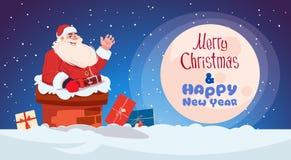 Feliz Navidad y tarjeta de felicitación de la Feliz Año Nuevo con el concepto de Santa Claus Chimney Winter Holidays Banner Foto de archivo libre de regalías