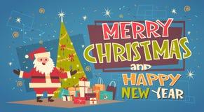 Feliz Navidad y tarjeta de felicitación de la Feliz Año Nuevo con Santa Claus Near Green Holiday Tree y los regalos Fotografía de archivo