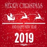 Feliz Navidad y tarjeta de felicitación de las vacaciones de invierno del concepto de la Feliz Año Nuevo en fondo rojo Diciembre, stock de ilustración