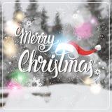 Feliz Navidad y tarjeta de felicitación de las vacaciones de invierno del concepto de la Feliz Año Nuevo sobre Forest Background  Fotografía de archivo