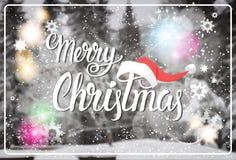 Feliz Navidad y tarjeta de felicitación de las vacaciones de invierno del concepto de la Feliz Año Nuevo sobre Forest Background  Fotos de archivo