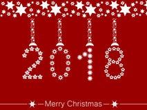 Feliz Navidad y una Feliz Año Nuevo 2018 ilustración del vector