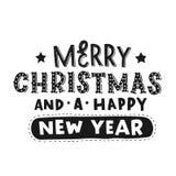 Feliz Navidad y una Feliz Año Nuevo Letras de la mano negra del vector fotos de archivo libres de regalías