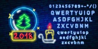 Feliz Navidad y una Feliz Año Nuevo Tarjeta de felicitación o modelo de la invitación en el estilo de neón Letrero luminoso de ne Fotografía de archivo libre de regalías