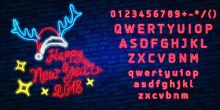 Feliz Navidad y una Feliz Año Nuevo Tarjeta de felicitación o modelo de la invitación en el estilo de neón Letrero luminoso de ne Foto de archivo libre de regalías