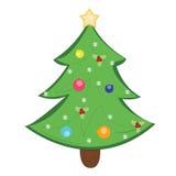 Feliz Navidad y una Feliz Año Nuevo y un árbol de pino Foto de archivo libre de regalías