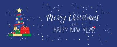 Feliz Navidad y una tarjeta de felicitación de la Feliz Año Nuevo en diseño plano moderno bandera Foto de archivo