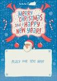 Feliz Navidad y una tarjeta, un cartel o un fondo de felicitación de la Feliz Año Nuevo para la invitación del partido con tipogr Imagen de archivo libre de regalías