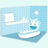 Feliz no banheiro Foto de Stock Royalty Free