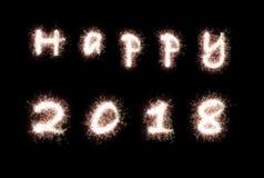 2017 feliz no preto Imagem de Stock