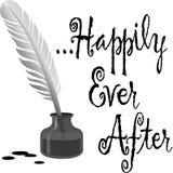 Feliz nunca después de la tinta/EPS de la pluma Fotografía de archivo libre de regalías