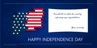 Feliz 4o julho, Dia da Independência dos EUA Fundo abstrato do vetor com lugar para o texto Bandeiras do vetor do co do projeto n Fotografia de Stock