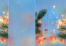 Feliz A?o Nuevo de la tarjeta de felicitaci?n y Feliz Navidad Cabaña o chalet hermosa, fondo, decoración del invierno para el día fotos de archivo