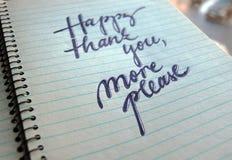 Feliz obrigado satisfazem mais o fundo caligráfico Fotos de Stock
