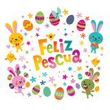 Feliz Pascua Happy Easter in Spanish greeting card. With cute bunnies Stock Photo