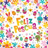 Feliz Pascua Happy Easter in Spanish greeting card. With cute bunnies and flowers Royalty Free Stock Photos