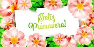 Feliz Primavera 2. Happy Spring flowers background Feliz Primavera flores Stock Photo