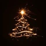 Feliz saludo del árbol de navidad con las estrellas Foto de archivo libre de regalías