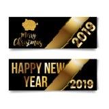2019 feliz, saludos chinos del Año Nuevo, año del cerdo del oro, fortuna, traducción: Caracteres chinos del cerdo rico de la Feli libre illustration
